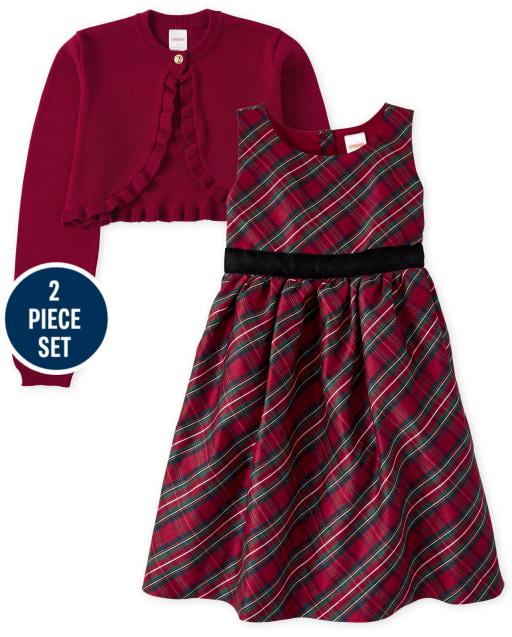 Girls Matching Family Sleeveless Plaid Woven Dress And Long Sleeve Shrug Sweater Set - Family Celebrations