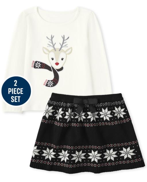 Conjunto de falda de suéter de punto fairisle y top de reno bordado de manga larga para niñas - Reindeer Cheer