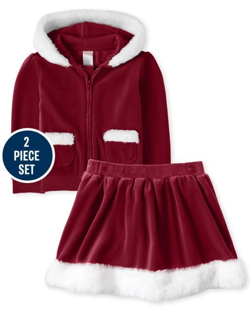 Girls Long Sleeve Velour Zip Up Hoodie And Velour Faux Fur Skort Set - Ho Ho Ho