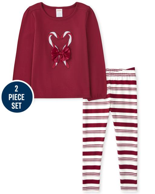 Conjunto de leggings de punto a rayas y top de bastón de caramelo bordado de manga larga para niñas - Ho Ho Ho