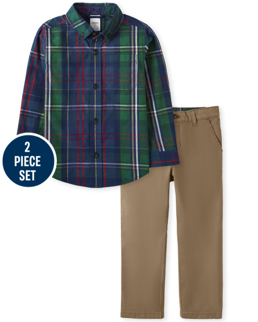 Boys Long Sleeve Plaid Poplin Button Up Shirt And Twill Woven Dress Pants Set - Family Celebrations