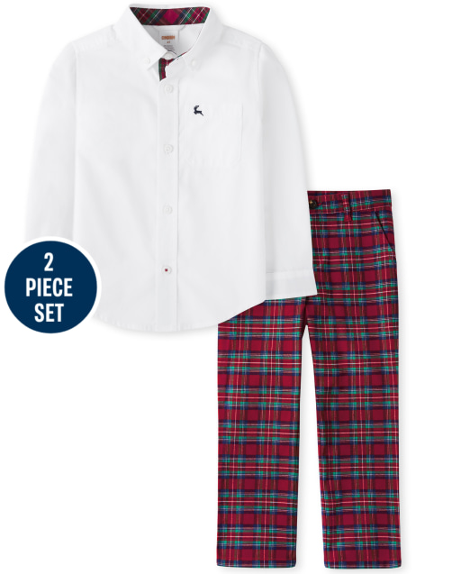 Boys Long Sleeve Poplin Button Up Shirt And Plaid Woven Dress Pants Set