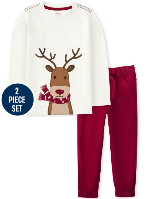 Boys Long Sleeve Embroidered Reindeer Top and Corduroy Pull On Jogger Pants Set - Reindeer Cheer