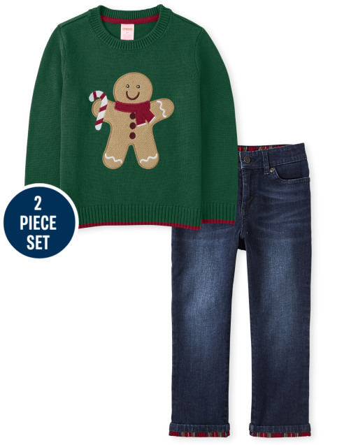 Boys Long Sleeve Intarsia Gingerbread Sweater And Roll Cuff Jeans Set - Ho Ho Ho