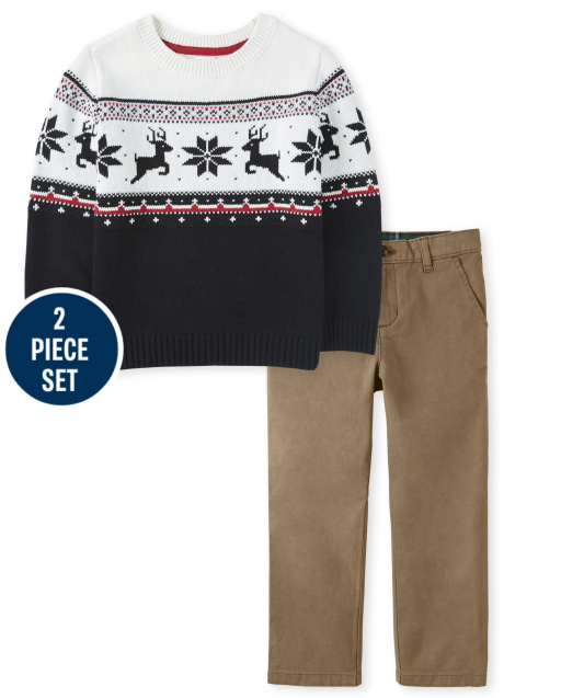 Boys Long Sleeve Reindeer Fairisle Sweater And Twill Woven Dress Pants Set