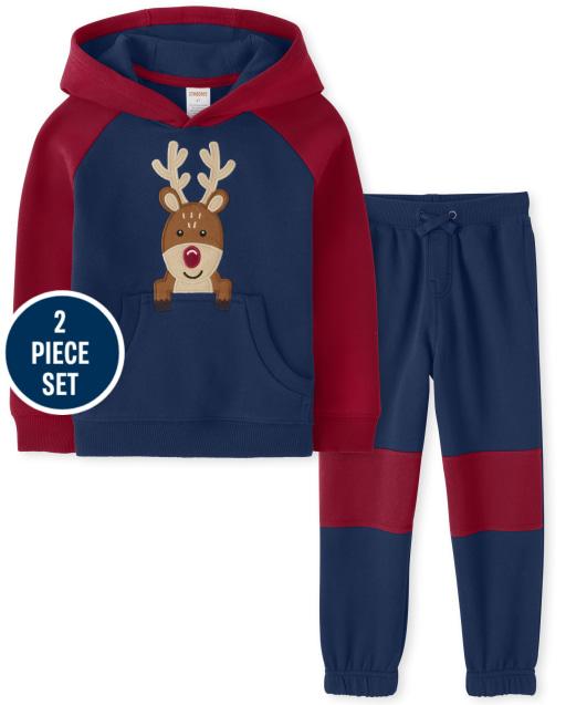 Boys Long Sleeve Embroidered Reindeer Hoodie And Colorblock Fleece Jogger Pants Set - Ho Ho Ho