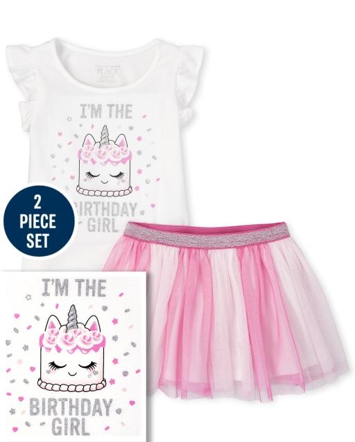 Baby And Toddler Girls Birthday Short Sleeve Glitter Cake Ruffle Top And Tutu Skirt Set
