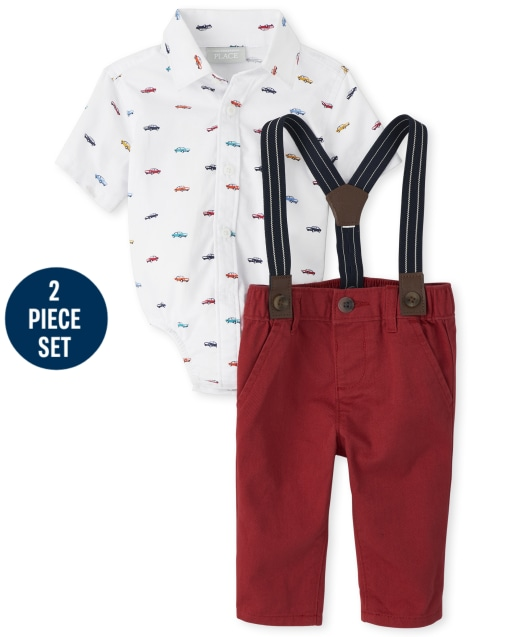 Baby Boys Short Sleeve Cars Poplin Bodysuit Chino Pants And Suspenders Outfit Set