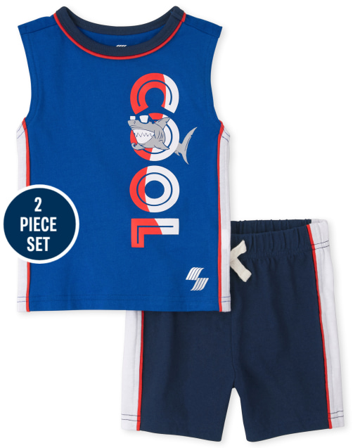 Toddler Boys Mix And Match Sleeveless Tanl Top And Side Stripe Knit Shorts 2-Piece Active Set