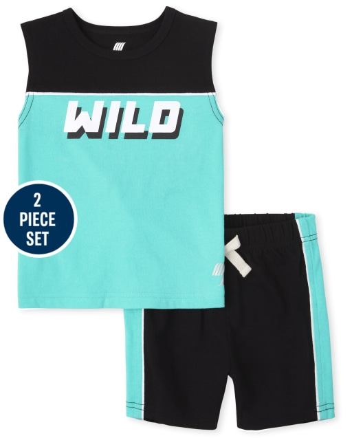 Toddler Boys Mix And Match Sleeveless 'Wild' Muscle Tank Top And Knit Shorts 2-Piece Active Set