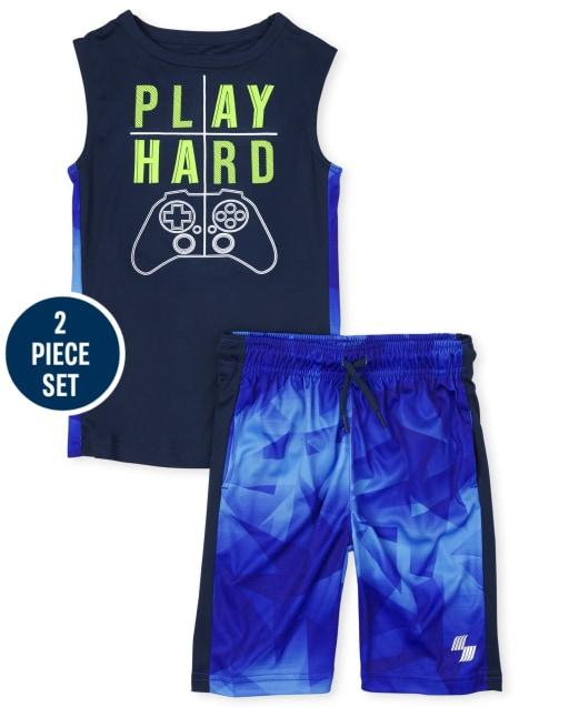 Boys PLACE Sport Camiseta sin mangas con músculos sin mangas y pantalones cortos de baloncesto de punto Conjunto de rendimiento de 2 piezas