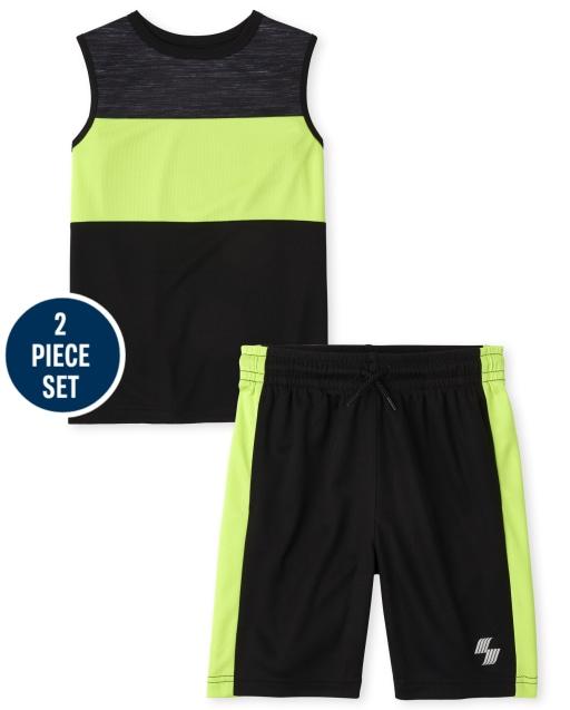 Boys PLACE Sport Camiseta sin mangas con diseño de bloques de color sin mangas y pantalones cortos de baloncesto de punto Conjunto de rendimiento de 2 piezas