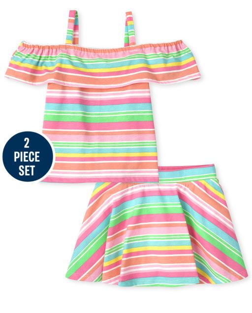 Toddler Girls Mix And Match Sleeveless Rainbow Striped Off Shoulder Top And Skort 2-Piece Set