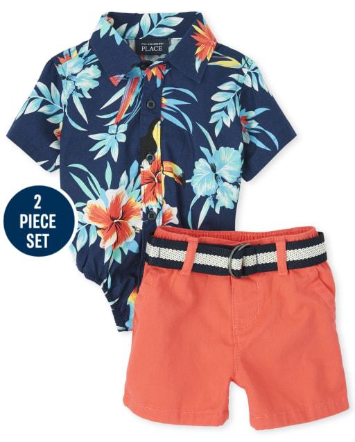 Baby Boys Dad And Me Body de popelina con botones y estampado tropical de manga corta y pantalones cortos chinos tejidos con cinturón Conjunto de conjunto a juego