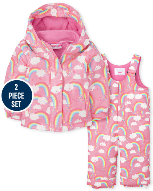 Toddler Girls Long Sleeve Print 3 In 1 Jacket And Sleeveless Solid Snow Overalls 2-Piece Snow Set