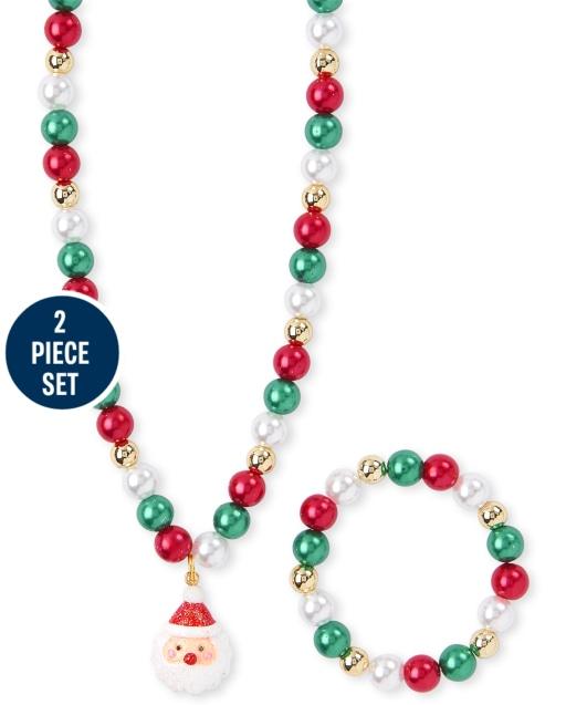 Girls Christmas Santa Beaded Necklace And Bracelet Set