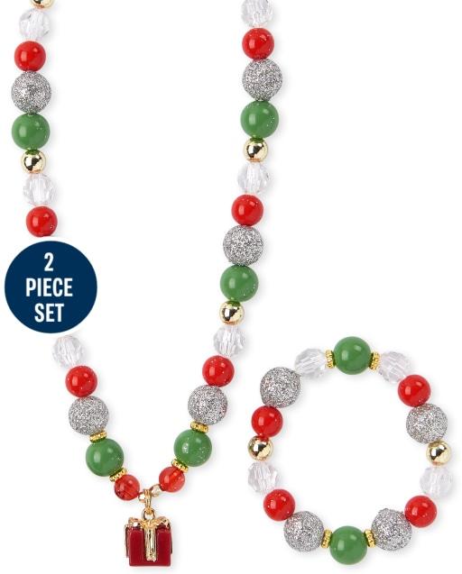 Girls Christmas Present Beaded Necklace And Bracelet Set