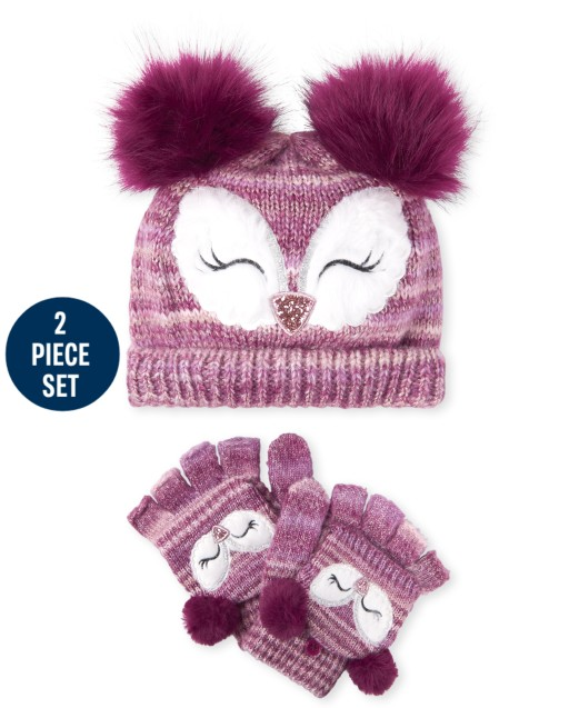 Girls Owl Hat And Mittens Set