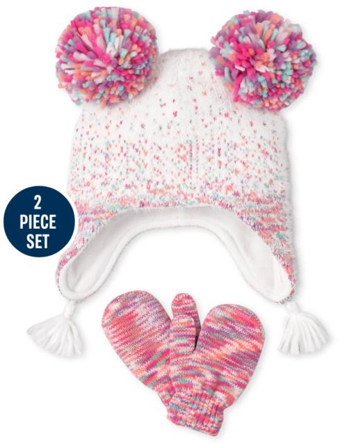Conjunto de gorro y manoplas confeti para niñas pequeñas