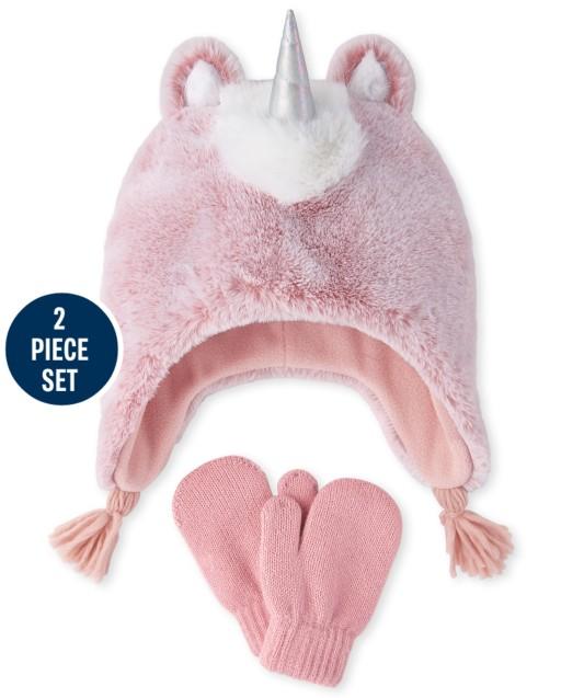 Conjunto de gorro y manoplas de unicornio de piel sintética para niñas pequeñas
