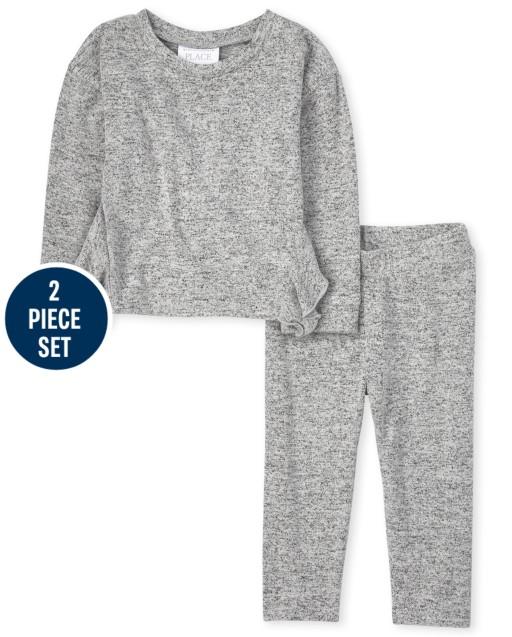 Toddler Girls Active Long Sleeve Lightweight Sweater Ruffle Top And Lightweight Sweater Knit Pants 2-Piece Set