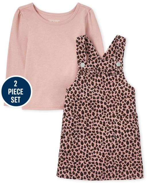 Toddler Girls Sleeveless Leopard Print Corduroy Skirtall And Top 2-Piece Set