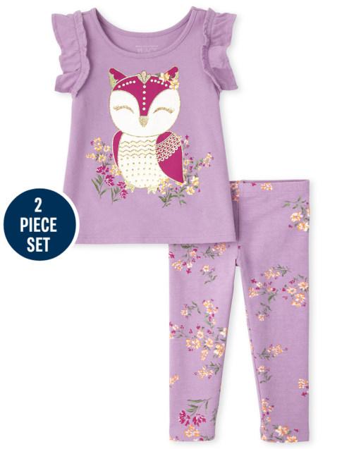 Conjunto de 2 piezas de leggings de punto floral y top de búho con manga corta con volantes y leggings de punto floral para niñas pequeñas