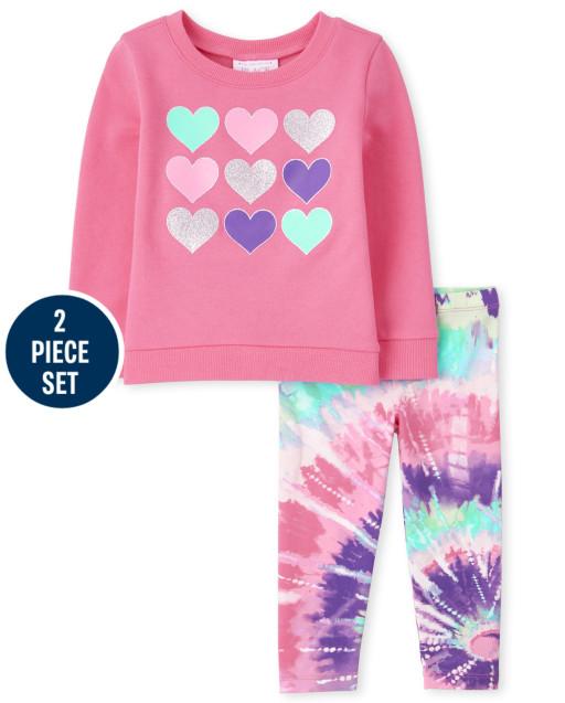 Conjunto de 2 piezas de sudadera activa de polar de corazón de manga larga y leggings de punto con efecto tie dye para niñas pequeñas