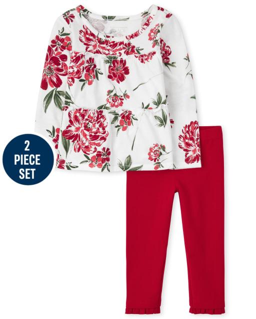 Conjunto de 2 piezas de leggings de punto con volantes y top a capas con estampado floral de manga larga para niñas pequeñas