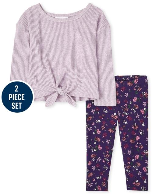Conjunto de 2 piezas de leggings de punto con estampado floral y top con lazo acanalado de manga larga para niñas pequeñas