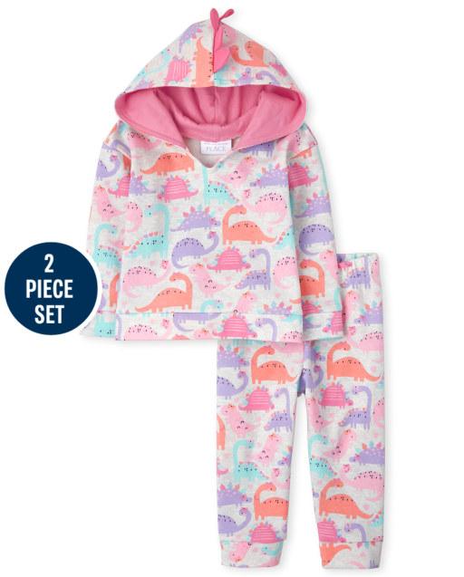 Conjunto de 2 piezas de sudadera con capucha de forro polar con estampado de dinosaurio de manga larga y pantalones de chándal de forro polar para niñas pequeñas