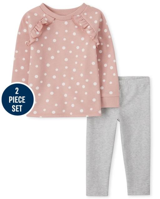Conjunto de 2 piezas de sudadera con volantes y estampado de lunares de manga larga y leggings de punto para niñas pequeñas