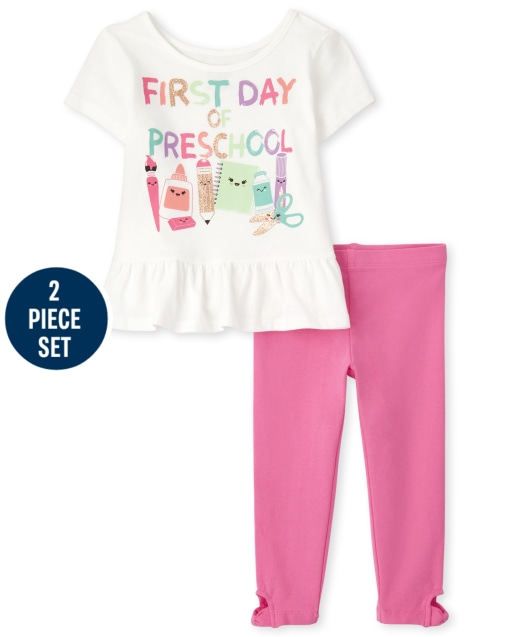 Niñas pequeñas Mezclar y combinar manga corta ' Primer día de preescolar ' Conjunto de 2 piezas de leggings con estampado de peplum y mallas de punto retorcidas