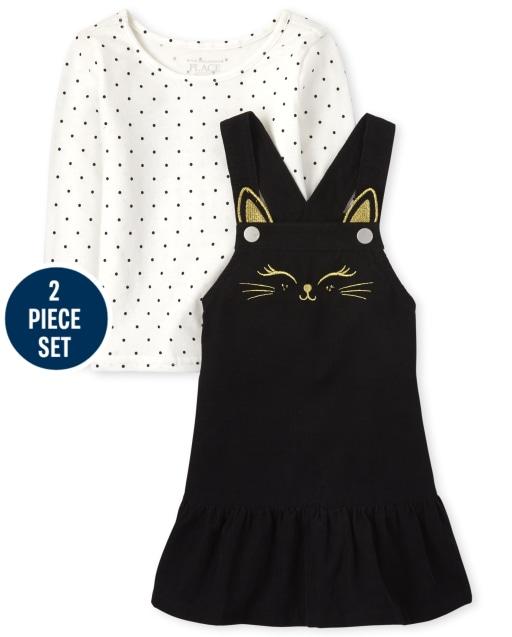 Conjunto de 2 piezas con top sin mangas con estampado de lunares y falda de pana sin mangas para niñas pequeñas