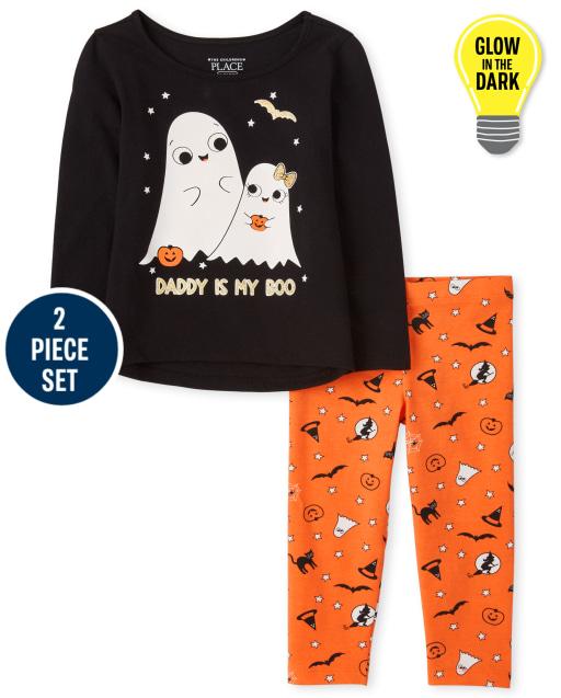 Conjunto de 2 piezas de mallas tejidas con estampado de Halloween y top fantasma de manga larga ' Daddy Is My Boo '