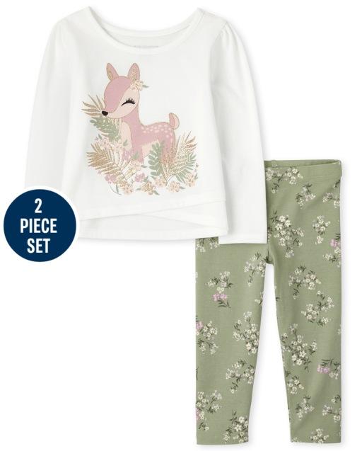 Conjunto de 2 piezas de leggings de punto floral y top de ciervo floral de manga larga para niñas pequeñas Mix And Match
