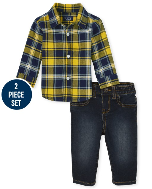 Baby Boys Dad And Me Long Sleeve Plaid Oxford Button Down Shirt And Twill Jeans Matching 2-Piece Set
