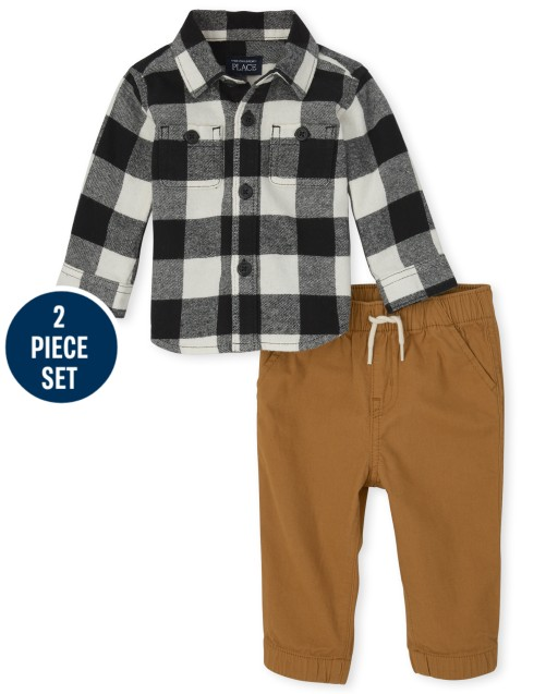 Baby Boys Matching Family Long Sleeve Buffalo Plaid Flannel Button Down Shirt And Woven Jogger Pants 2-Piece Set