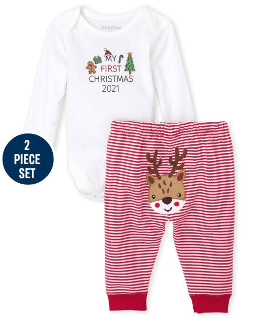Unisex Baby Long Sleeve 'My First Christmas 2021' Bodysuit And Striped Knit Pants 2-Piece Set