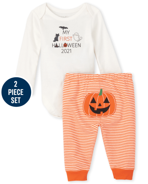 Unisex Baby Long Sleeve 'My First Halloween 2021' Bodysuit And Striped Knit Pants 2-Piece Set