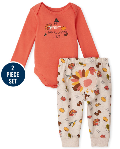 Unisex Baby Long Sleeve 'My First Thanksgiving 2021' Bodysuit And Knit Pants 2-Piece Set