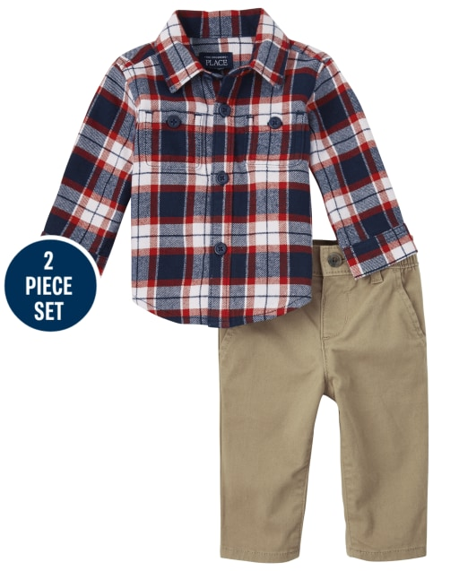 Baby Boys Dad And Me Long Sleeve Plaid Flannel Button Down Shirt And Belted Woven Chino Pants Matching 2-Piece Set