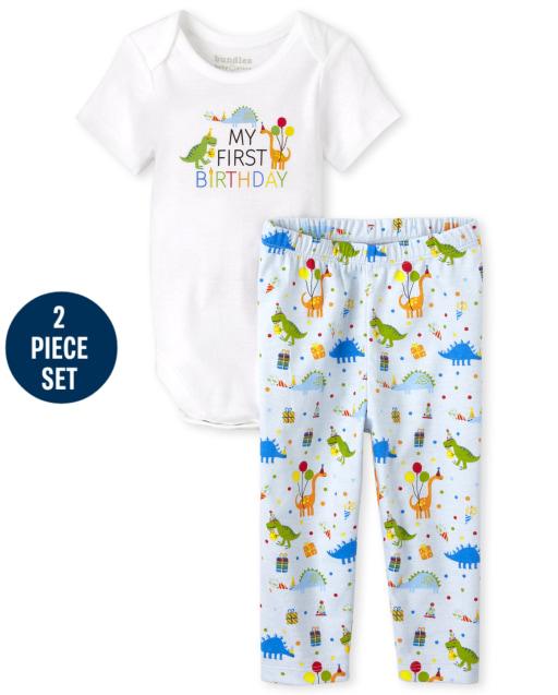 Baby Boys Short Sleeve 'My First Birthday' Bodysuit And Birthday Dino Print Knit Pants 2-Piece Set