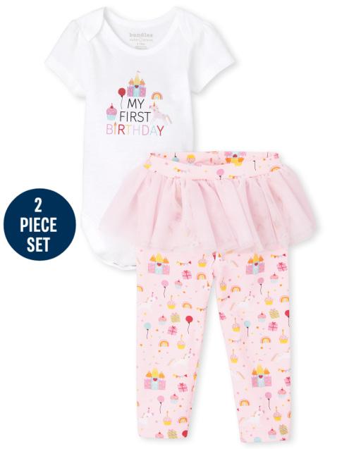 Baby Girls Short Sleeve Bodysuit And Unicorn Print Knit Tutu Leggings Birthday 2-Piece Set