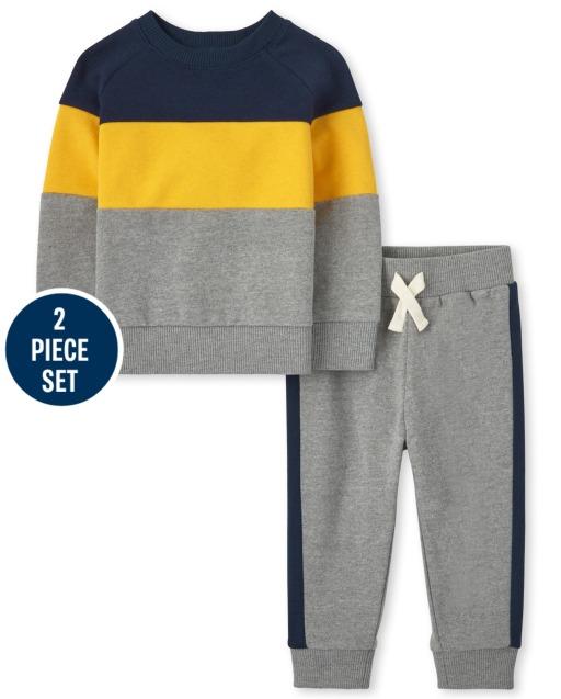 Toddler Boys Long Sleeve Colorblock Sweatshirt And Fleece Jogger Pants 2-Piece Set