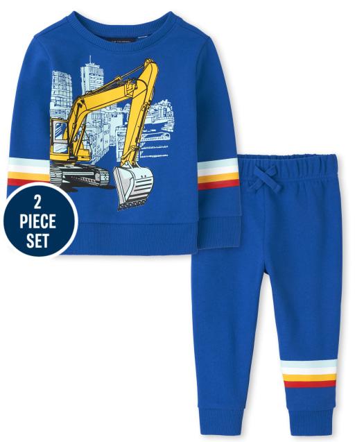 Toddler Boys Long Sleeve Construction Truck Graphic Sweatshirt And Fleece Jogger Pants 2-Piece Set