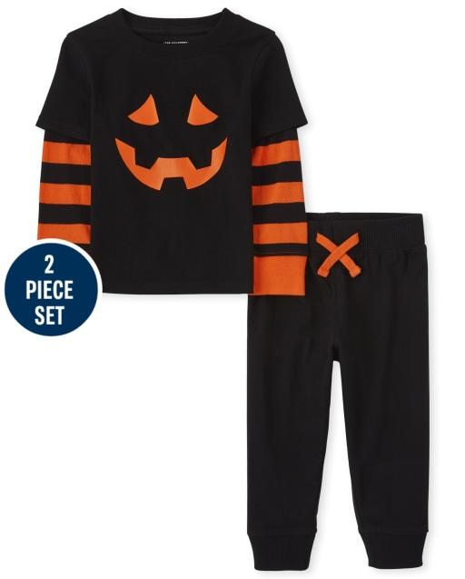 Toddler Boys Halloween Long Sleeve Pumpkin 2 In 1 Top And Fleece Jogger Pants 2-Piece Set