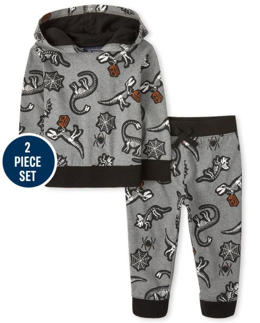 Toddler Boys Halloween Long Sleeve Skeleton Dino Print Hoodie And Fleece Jogger Pants 2-Piece Set