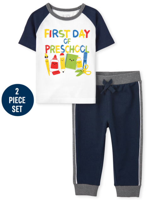 Toddler Boys Short Sleeve 'First Day Of Preschool' Graphic Top And Fleece Jogger Pants 2-Piece Set