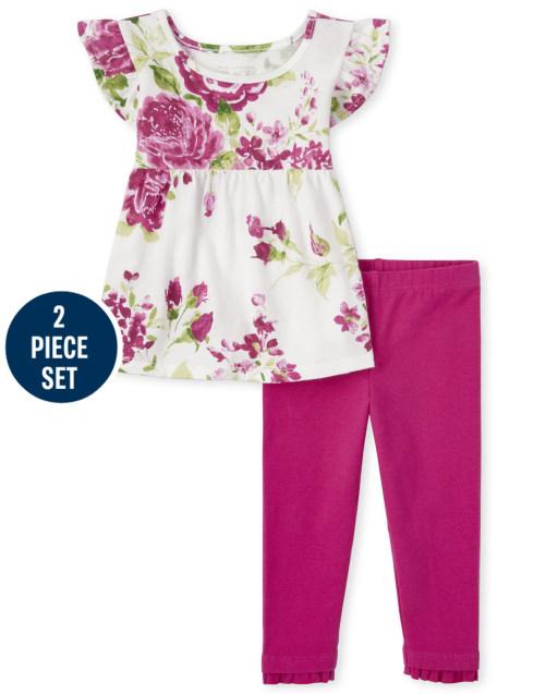 Conjunto de 2 piezas de leggings de punto con volantes y top con volantes y estampado floral de manga corta para niñas pequeñas